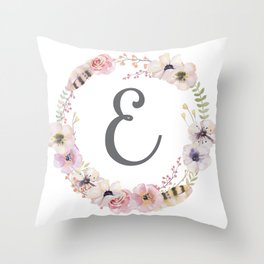 Floral Wreath - E Throw Pillow