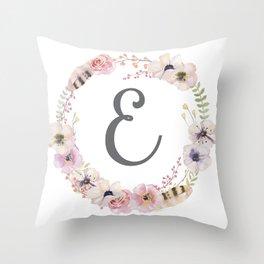 Floral Wreath - E Throw Pillow
