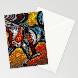 Horse Stained Glass Mosaic Brown Stationery Cards