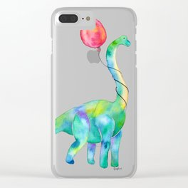 brachiosaurus with red balloon Clear iPhone Case