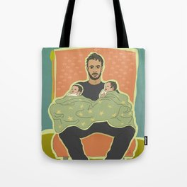 Father with Twins Tote Bag