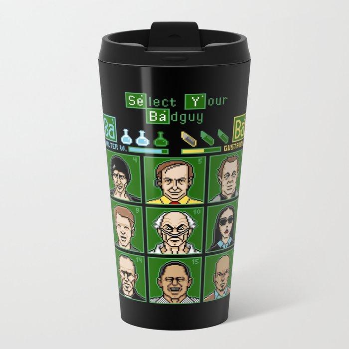 8 Bit Bad Guys Metal Travel Mug