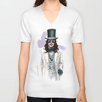 dracula V-neck T-shirts featuring Dracula by Myrtle Quillamor