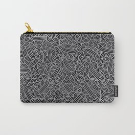 Black and faux silver swirls doodles Carry-All Pouch