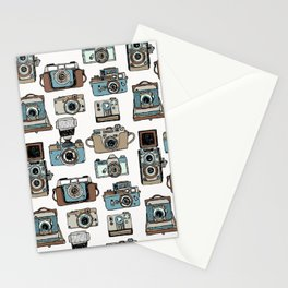 Hand drawn seamless pattern of old fashioned photo camera Stationery Cards
