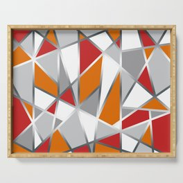 Geometric Shapes in Red, Orange and Gray Serving Tray