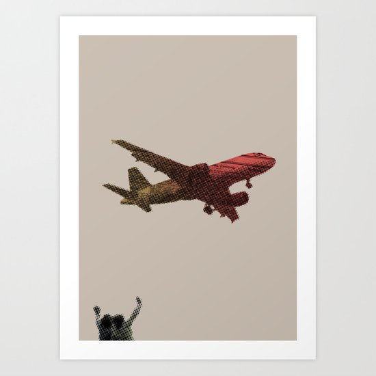Dad's on that paper flight again Art Print