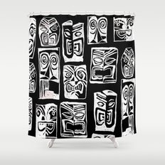 tribal in black and white Shower Curtain