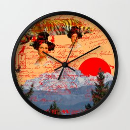 THE TWO MADONNAS AND THE RED CIRCLE III Wall Clock