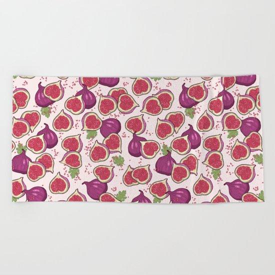 fig pattern Beach Towel
