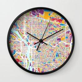Portland Oregon City Map Wall Clock