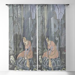 """The Black Tortoise"" by Virginia Frances Sterrett Sheer Curtain"