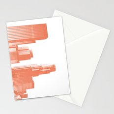downtown Los Angeles skyline print, coral Stationery Cards