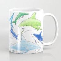 sharks Mugs featuring sharks by Kathryn Rickards
