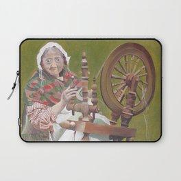 Old Irish Woman Sitting At A Spinning Wheel Laptop Sleeve