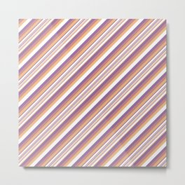 Orchid Indigo Beige Inclined Stripes Metal Print