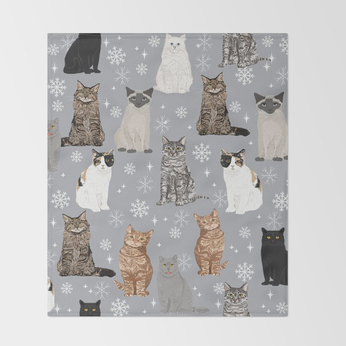 Cat breeds snowflakes winter cuddles with kittens cat lover essential cat gifts Throw Blanket