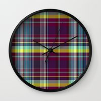 vegetable Wall Clocks featuring vegetable madras by design lunatic