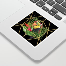 Bold Golden Geometric Tropical Bouquet With Toucan Sticker