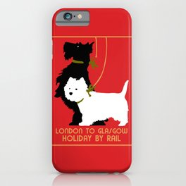 Retro London and Glasgow by train, dogs terriers iPhone Case