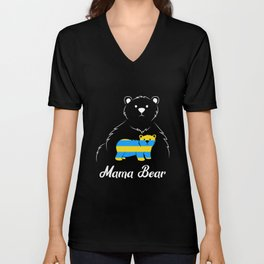 Mama Bear Down Syndrome Mom Support Ribbon T21 Unisex V-Neck