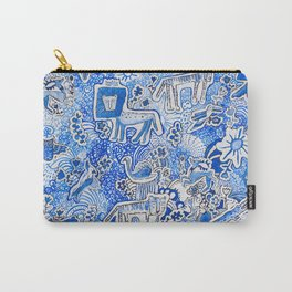 Delft Blue and White Pattern Painting with Lions and Tigers and Birds Carry-All Pouch