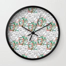 Geometric Monochrome & Coloured Square Surface Pattern Design Wall Clock
