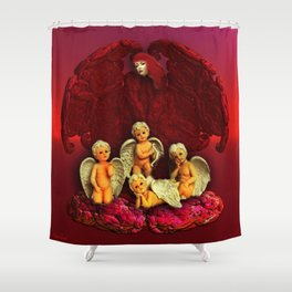 #Christmas Angels Shower Curtain