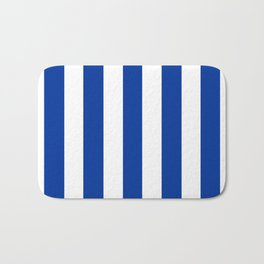Dark powder blue - solid color - white vertical lines pattern Bath Mat