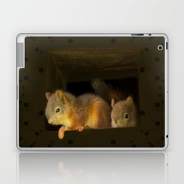 Young squirrels peering out of a nest #decor #buyart #society6 Laptop & iPad Skin