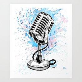Vintage Microphone (Splash Music) Art Print