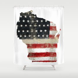 WISCONSIN FLAG Shower Curtain