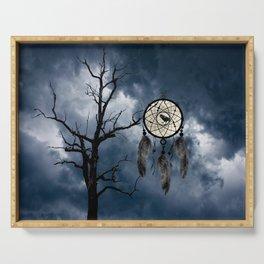 Black Bird Crow Tree Dream Catcher Night Moon A082 Serving Tray