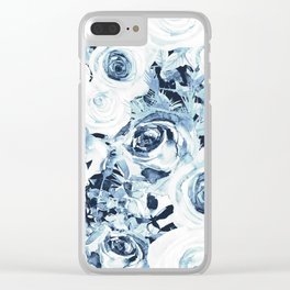 Blue White Winter Roses Clear iPhone Case