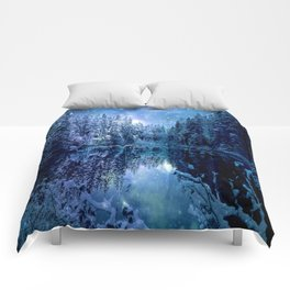 A Cold Winter's Night : Turquoise Teal Blue Winter Wonderland Comforters