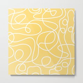 Doodle Line Art | White Lines on Custard Yellow Metal Print
