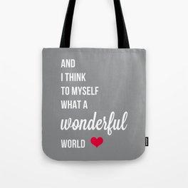 Wonderful world typogrphy Tote Bag