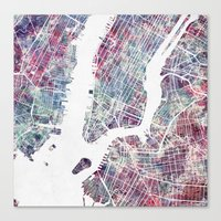 Canvas Prints featuring new york map by MapMapMaps.Watercolors
