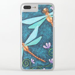 Dragonfly Dance, by Soozie Wray Clear iPhone Case