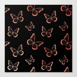Rose Gold Butterflies Canvas Print
