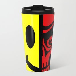 Smiley Face Skull Yellow Red Travel Mug