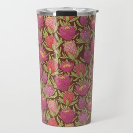 Pink protea flowers with green leaves on brown background Travel Mug