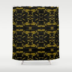 Black and Gold Motif Shower Curtain