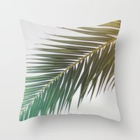 palm tree Throw Pillows featuring palm tree by iulia pironea