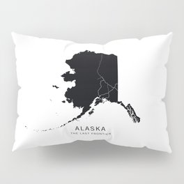 Alaska State Road Map Pillow Sham