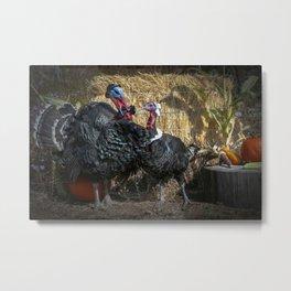 Thanksgiving Turkey Pilgrims Metal Print