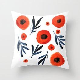 Red Poppies Specimen Throw Pillow