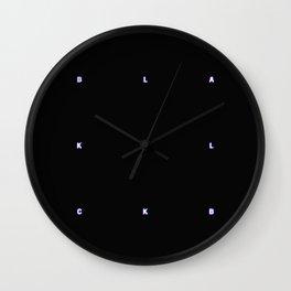 BLACK + neon pixels/ minimal Wall Clock