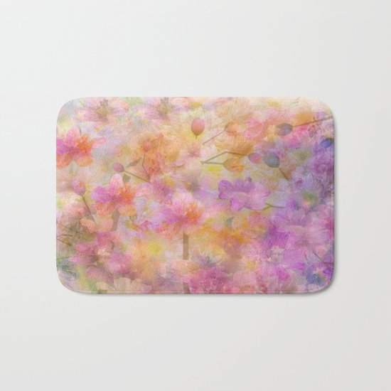 Sophisticated Painterly Floral Abstract Bath Mat
