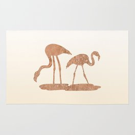 Gold Leaf Flamingos Rug